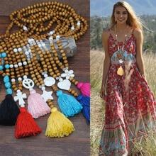 все цены на Boho Bohemian Jewelry Pendant Natural Mu Zhu Sweater The Chain Of Bohemia Second Colour Tassels Necklace Women Long Fund  Choker онлайн