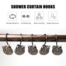 12pcs/pack Owl Decorative Bath Curtains Hooks Rings Rustproof Shower Curtain Hooks Metal Bathroom Curtains Hooks for Shower Rods(China)
