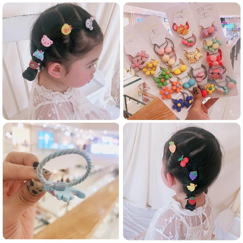 10 Set kids Hair Accessories kakakids Girls hair circle band lovely flowers cartoon animals fruits elastic