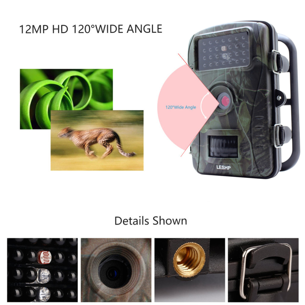 LESHP RD1003 2.4 Inch TFT 70 Degree Wide Viewing Hunting Camera 720P 940nM Digital Infrared Trail Camera 50 Ft Night Vision
