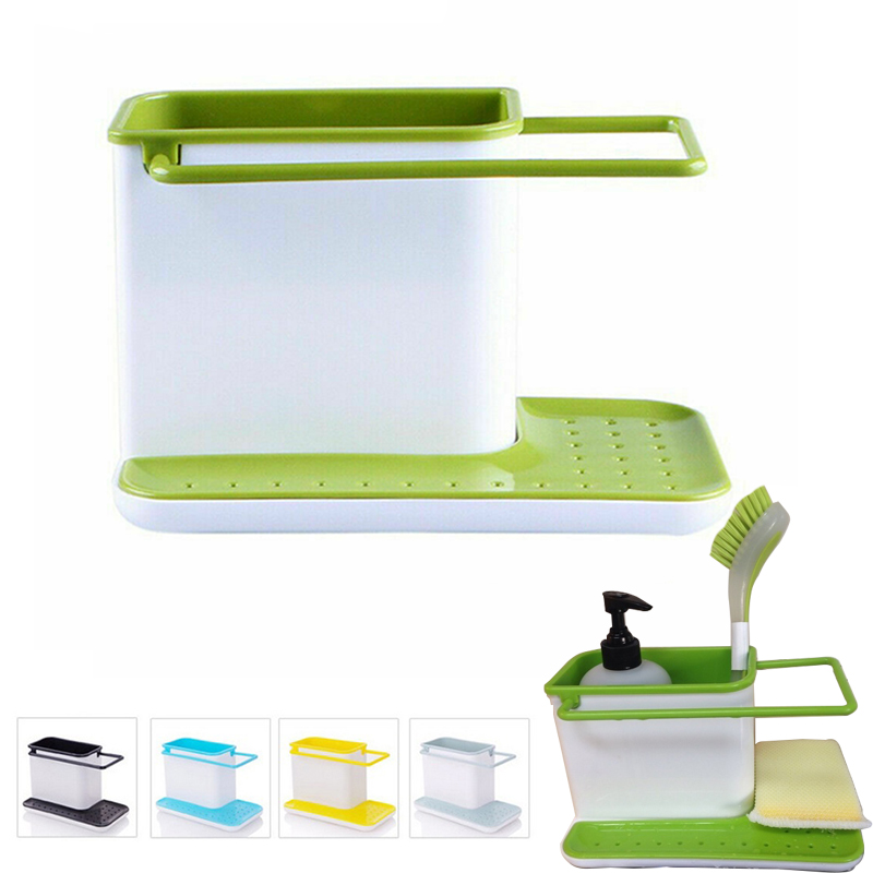Storage Shelf Sponge Kitchen Draining Sink Box Draining Rack Storage Holder Kitchen Organizer Stands Tidy Utensils Towel Rack
