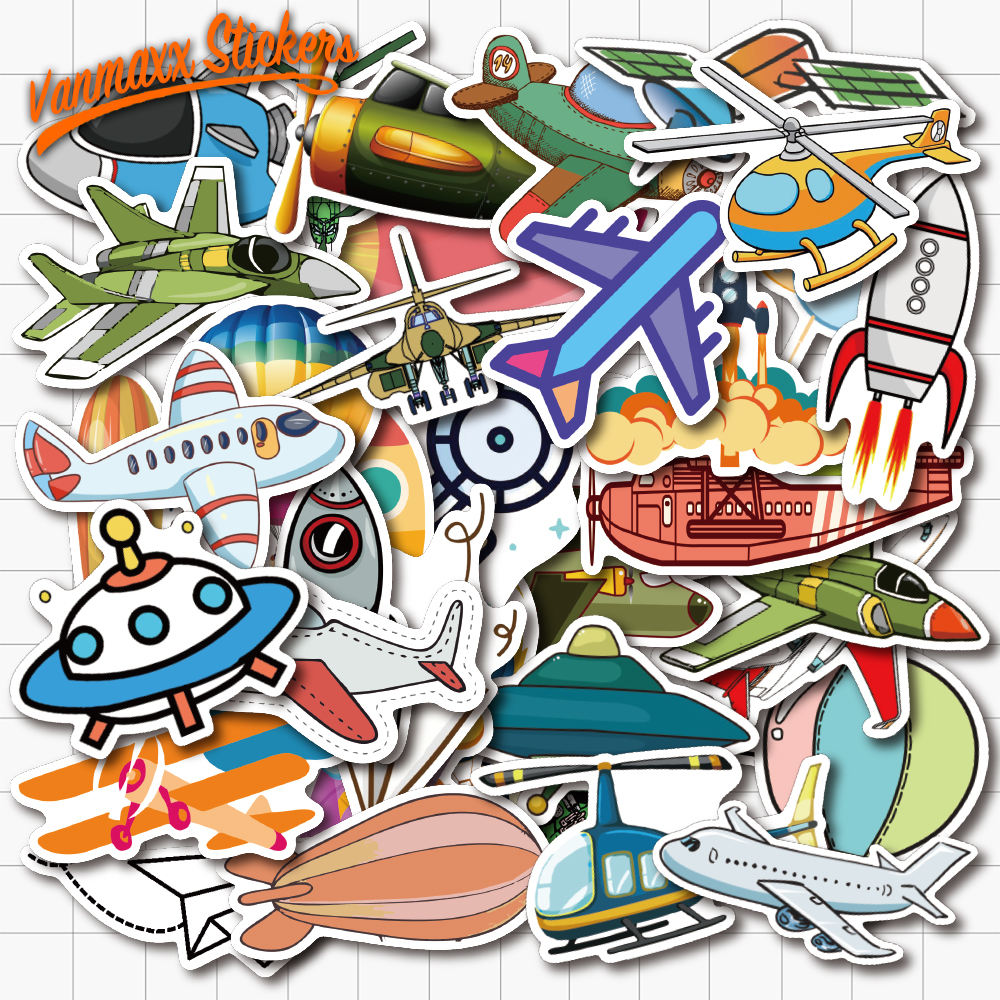 VANMAXX 40 PCS Vehicle Aircraft Rocket Graffiti Stickers Waterproof PVC Decal For Laptop Helmet Bicycle Luggage Phone Case