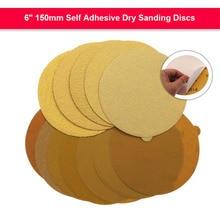 5 stücke 6 Zoll 150mm Selbst Klebe Schleifen Discs Gelb Aluminium Oxid Trocken Schleifpapier Kleber-gefüttert Runde Sichern pads 40 zu 800 Grit