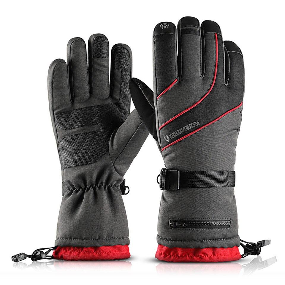 Водонепроницаемые лыжные перчатки, зимние уличные спортивные женские и мужские теплые перчатки для снегохода, мотоцикла, сенсорного экран...