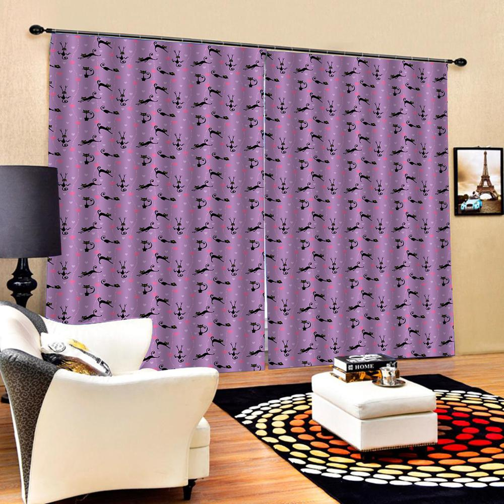 purple curtains photo Blackout Window Drapes Luxury 3D Curtains For Living room Bed room Office Hotel Home  Decoration curtains