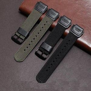 Image 5 - PEIYI ניילון רצועה שחור צבא ירוק צמיד החלפת חגורת עבור גברים של שעון ספורט AE 1200WH/SGW 300H/400/AQ S810W