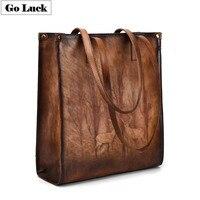 GO LUCK Brand Vintage Vegetable Genuine Leather Top handle Tote Handbag Women Shoulder Bag Women's Casual Shopping Travel Bags