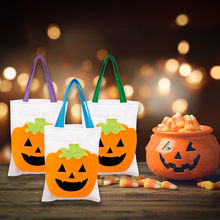 Pumpkin Lantern Canvas Tote Bag Women Large Shopper Carry Pouch Halloween Gifts(China)