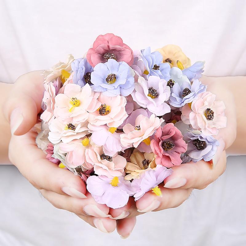 50 шт. 3 см многоцветные цветки маргаритки, маленькие шелковые искусственные цветы для рождественского венка, скрапбукинга, украшения для до...