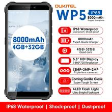 OUKITEL WP5 4G Rugged SmartPhone Quad Core 4GB 32GB 8000mAh Mobile Phone 5.5 Inch Waterproof MT6761 Triple Camera Phone