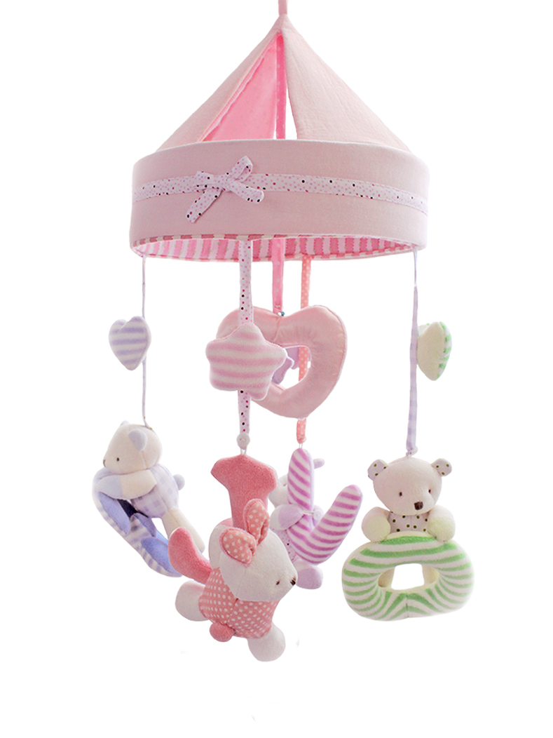 Baby Music Toys Electronic Bed Bell Crib Plastic Rattles 0-12 Months Plush Animal Bear Hanging Dolls Toys For Newborns AA50YL