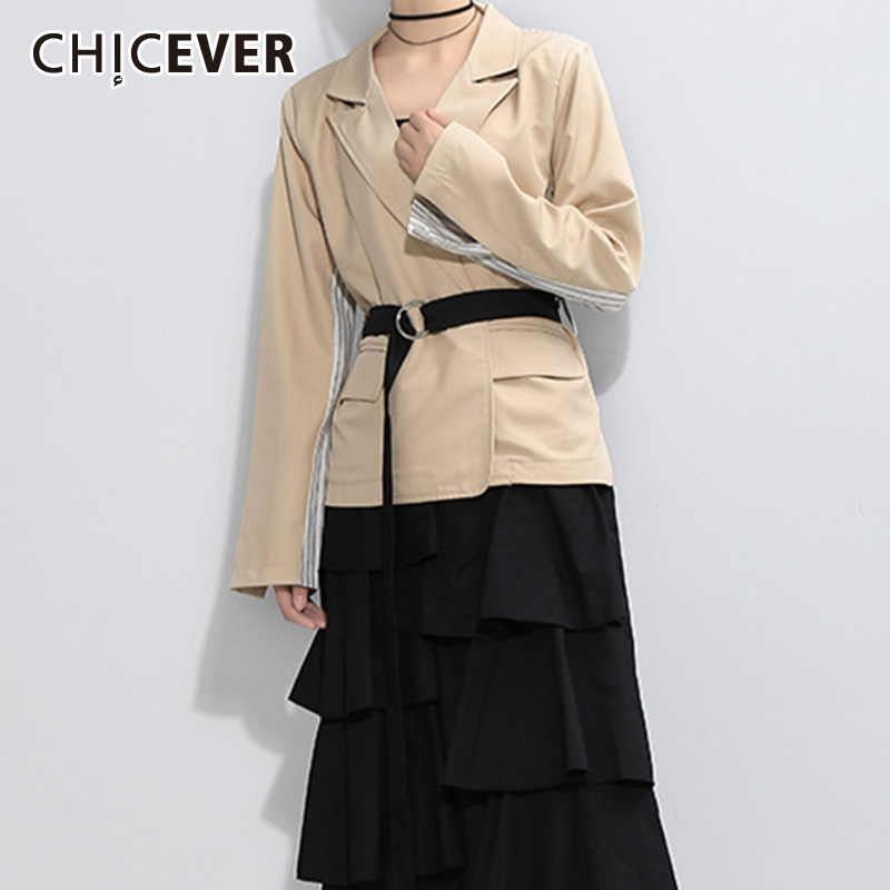 CHICEVER Korean Patchwork Striped Women's Blazer Notched Long Sleeve High  Waist Sashes Hit Color Female Blazers 2019 Autumn New