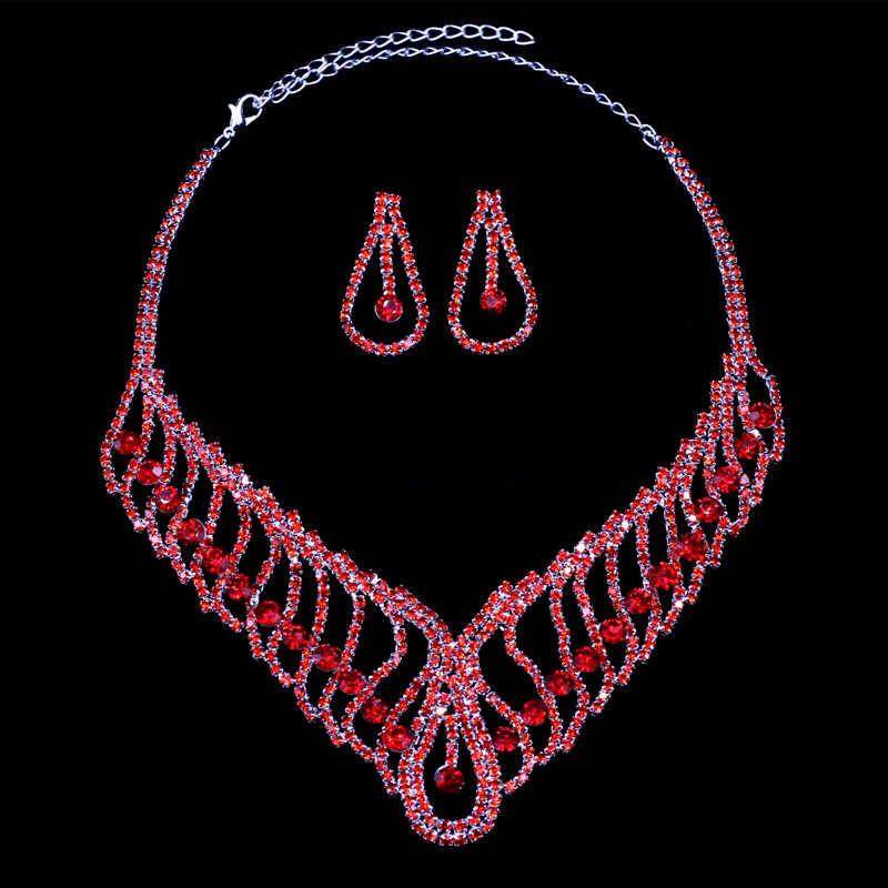 HanCheng Luxus Braut Strass Aussage Choker Halskette Hochzeit Schmuck Ohrringe Welligkeit Erstellt Kristall Schmuck Sets collier