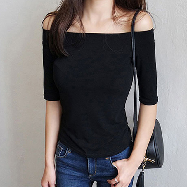 Women Autumn T-shirts Tees , Shirts & Tops Women color: Black Blue Gray Red Rose Red White