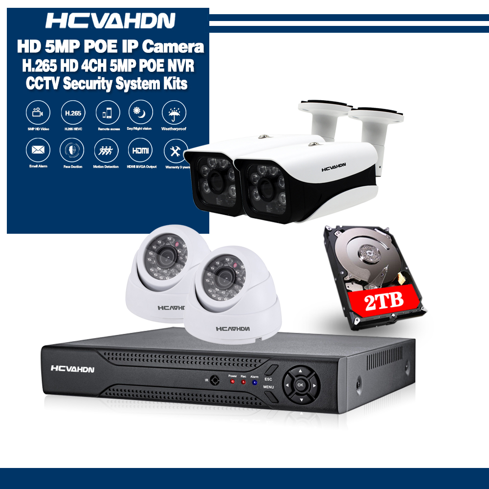 H.265 4CH CCTV Surveillance Kit 5MP Security Camera System 4CH 8CH POE NVR With HD 5.0MP POE IP Camera Set Real Plug and Play image