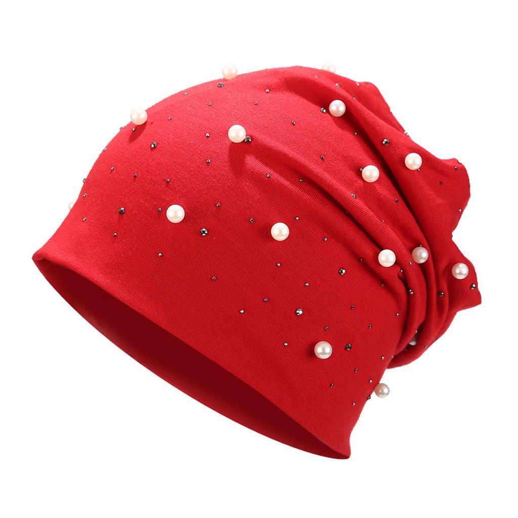 Mode Vrouwen Stretch Hoofddeksels Pure Kleur Parel Hoofd Sjaal Wrap Hat Cap festival hoeden voor vrouwen winter hoed