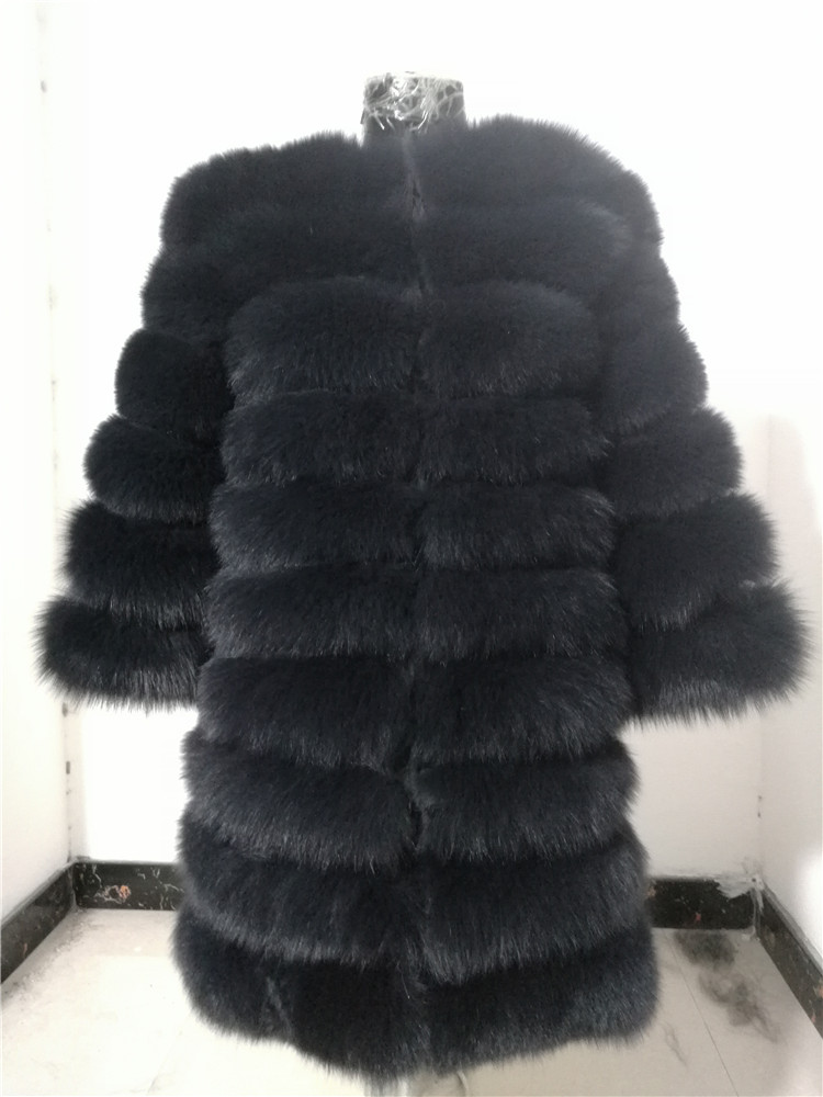 100% Natural Real Fox Fur Coat Women Winter Genuine Vest Waistcoat Thick Warm Long Jacket With Sleeve Outwear Overcoat plus size 29