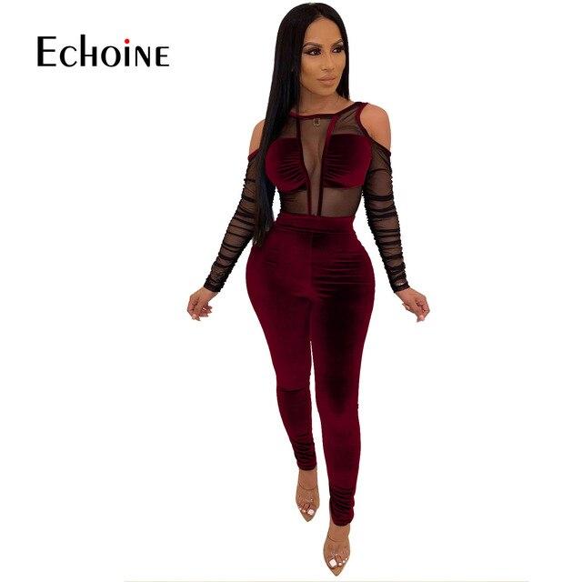 Seksi Mesh şeffaf Splice kadife 2 parça set kadın gece kulübü parti uzun kollu iki parçalı set üst ve pantolon kıyafetler kadife eşofman