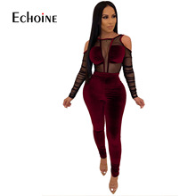 Sexy Mesh Sheer Splice Velvet 2 piece set Women Night Club Party LongSleeve two piece set top and pants Outfits velour tracksuit