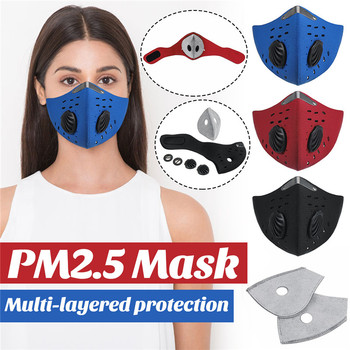 PM2.5 Mask Half Mouth Masks Anti Pollution Dust With 5-Layer Air Filter Bike Cycling Mouth-muffle Bacteria Proof Flu Face Masks