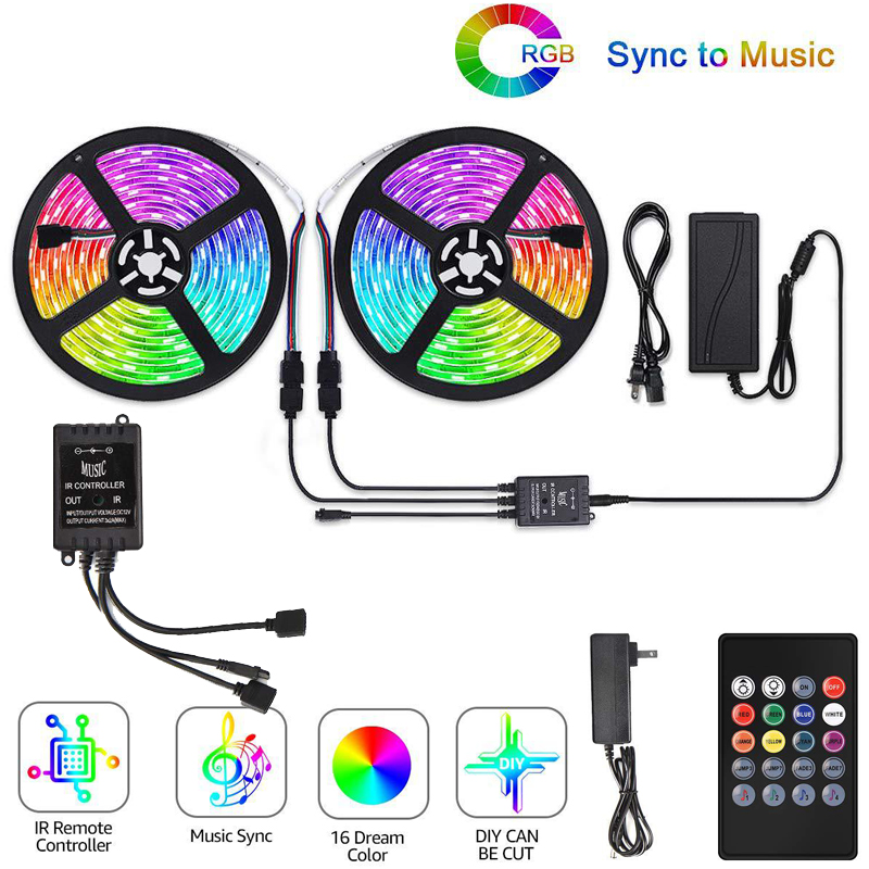 RGB LED Light Strip 20m 60FT Lighting Ribbon Excellent Length Perfect For Ambient Lighting Smart Phone Control Music Sync Light