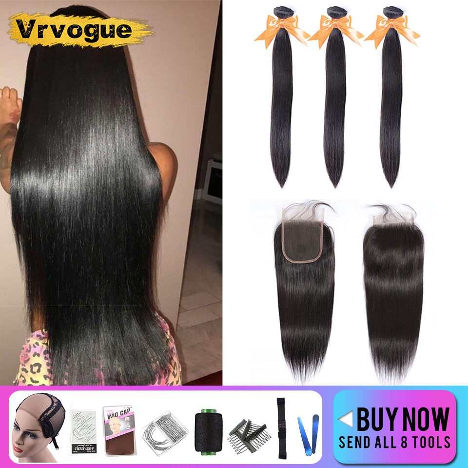 Vrvogue Hair Peruvian Straight Hair Bundles With Closure Remy Human Hair 3 Bundles With Lace Closure Middle/Three/Free Part