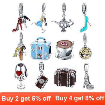 Berloque 925 Sterling Silver high heels Shoes Tree of Life traval dream camera Beads Charms Fit for silver 925 Jewelry Making tree of life 925 sterling silver tree of life family tree charms beads fit bisaer charm bracelet diy beads 925 silver jewelry