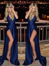 Simple Dark Blue Prom Dresses Open Back V-Neck Side Slit Sexy A-Line Evening Dress rose print slit back pencil dress