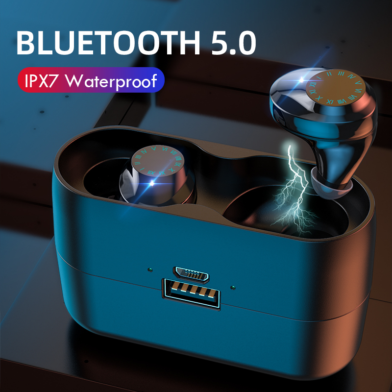 Wireless Headphones 3000mAh Charging Box IPX7 Waterproof TWS Earphone 9D Stereo Wireless Bluetooth 5.0 Earphones With Microphone