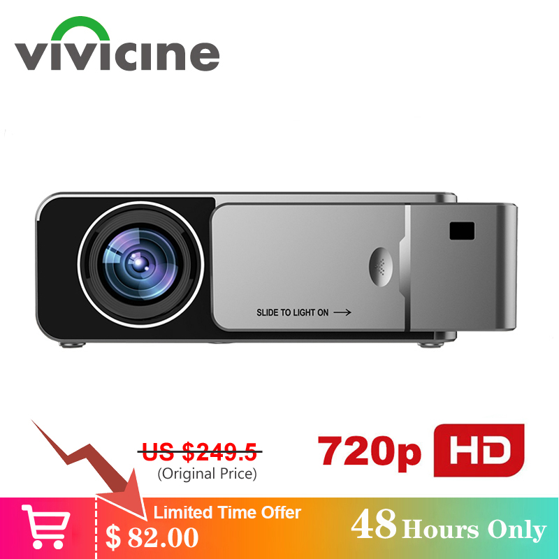 VIVICINE 1280x720p HD Portátil Projetor, opção Android 7.1 HDMI USB 1080p Home Theater Proyector WI-FI Mini Projetor Conduzido