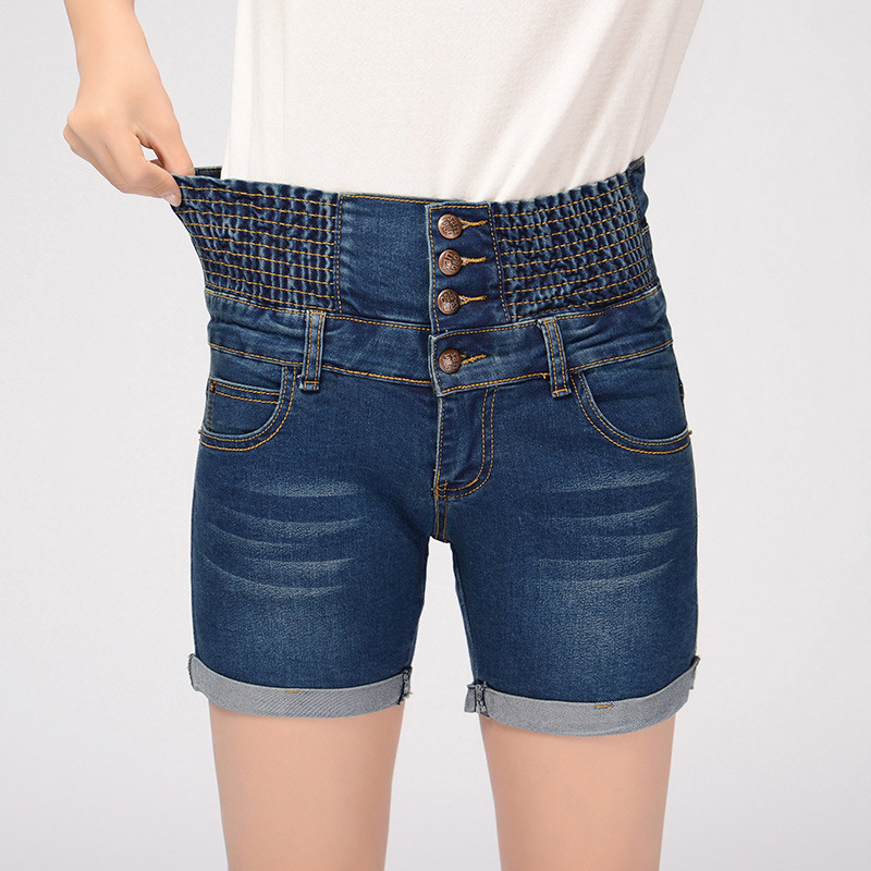 Women Short Jeans With High Waist Elastic 4 Buttons Ladies Summer Cuffs Denim Shorts Womens Plus Size Loose Short Jeans