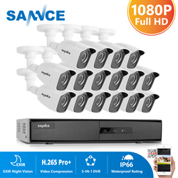 SANNCE 16CH 1080P Lite Video Security System With 5IN1 1080N DVR 16X 1080P IR Outdoor Weatherproof Camera CCTV Surveillance Kit