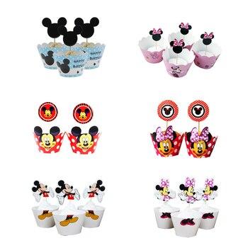 24 piezas Disney Mickey Mouse dibujos animados cumpleaños fiesta pastel decoraciones suministros Minnie cupcakes envoltorios y Toppers suministros de Navidad