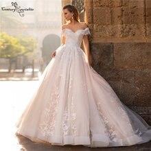 Блестящие кружевные свадебные платья с открытыми плечами размера
