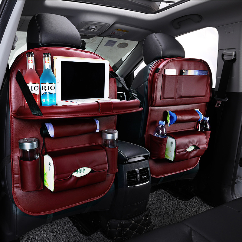 Pu Leather Car Back Seat Organizer Car Seat Tray Accessories