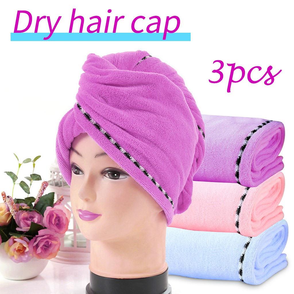 3PCS Womens Magic Quick Dry Bath Hair Drying Towel Head Wrap Hat Girls Make-up Cosmetics Cap Lady's Bathing Tools Wrap Towel