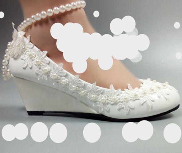 5CM talon compensé dentelle-fleur perles ivoire perles de mariée chaussures de mariage dames cheville perlée sangles papillon dentelle demoiselle d'honneur pompe