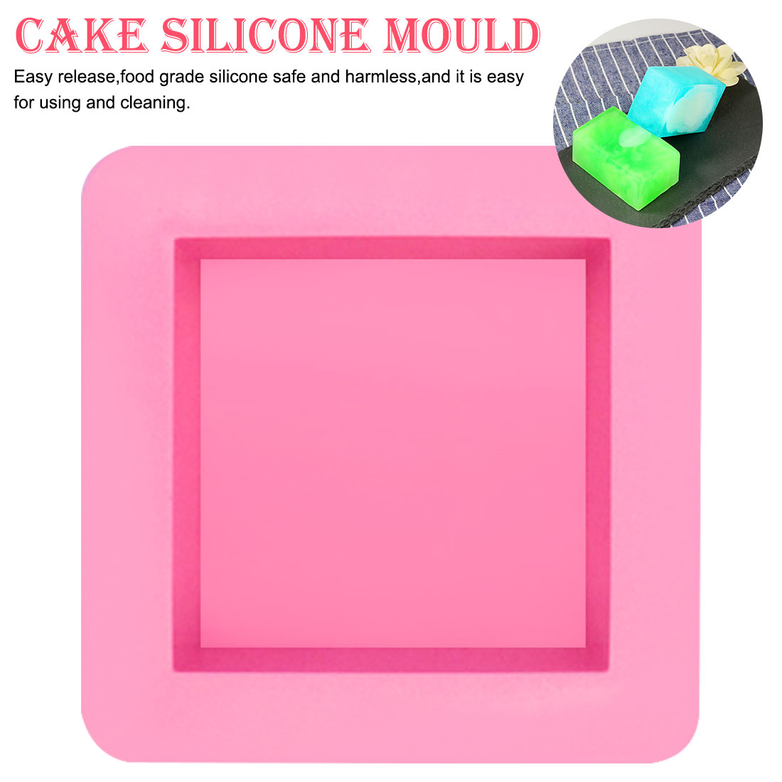 Silicone Soap Mold 1pcs Square 100% Hand Made DIY Cake Silicone Mold Fondant DIY Cake Decorating Tools