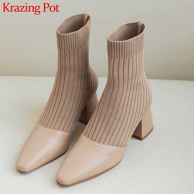 كرازينغ وعاء جديد المرقعة جلد البقر الحياكة الجوارب الأحذية جولة تو عالية الكعب موضة النساء الشتاء الانزلاق على حذاء من الجلد L2f1