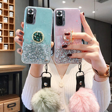 Fur Ball Glitter Case For Xiaomi Poco F3 X3 NFC M3 Case Redmi 9C 9A 7A 8A 6A Note 9T 8 7 10 6 9 Pro 10S 9S 8T Phone Holder Cover