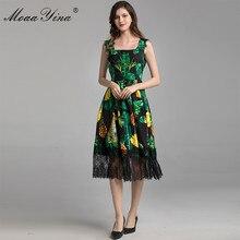 MoaaYina Fashion Designer Dress Summer Women Spaghetti strap Beaded Sequins Pineapple Green leaf Print Holiday Dress