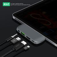 Luxury 4 in 1 USB C HUB HDMI 4K USB 3.0 3.5mm audio compatible Type C for Ipad Pro USB C Adapter with PD Charging|Phone Docking Station| |  -