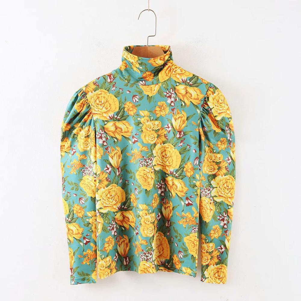 2020 New Women Yellow Flower Print Knitting Blouse Shirt Women Chic Turtleneck Puff Sleeve Casual Slim Blusas Bottom Tops LS6235