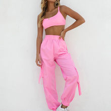 JAYCOSIN 2019 New Summer Women Suit Sexy Fashion Pink Outfits Set Sports Crop Top Beam Full Pants jogging Tracksuit(China)