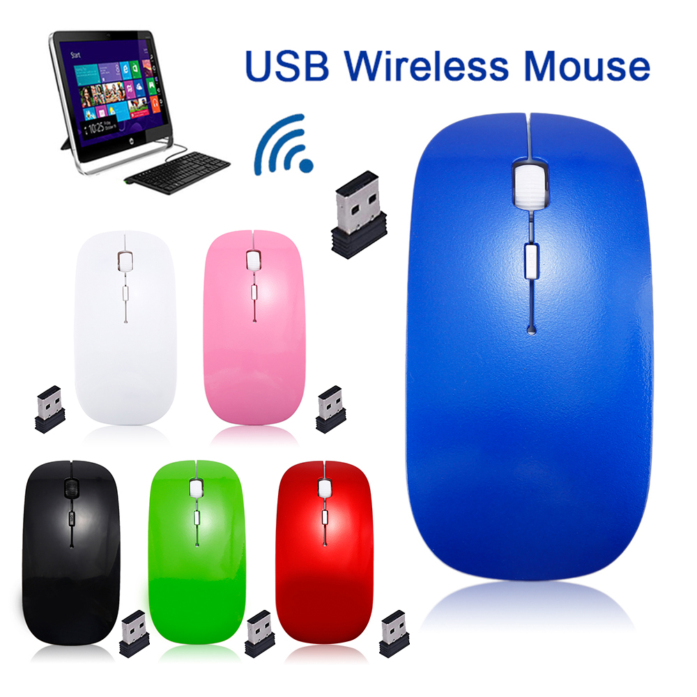 6 Colors 1600 DPI USB Optical Wireless Computer Mouse 2.4G Receiver Super Slim Mouse For PC Laptop Computer Desktop