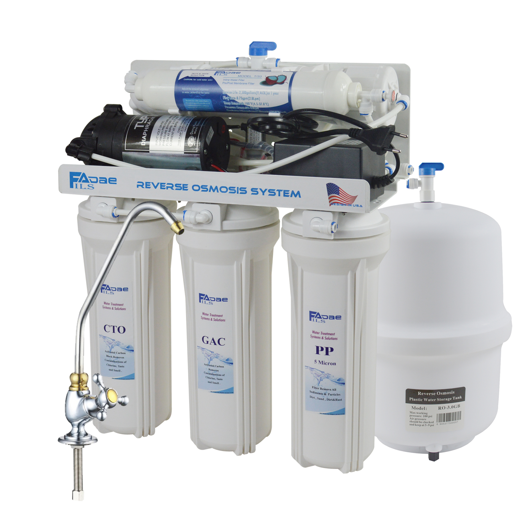 5 Stage Water Filter System 75gpd Reverse Osmosis Filtration