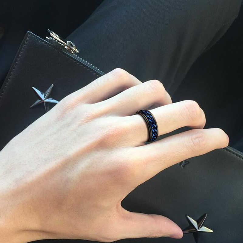 Auxauxme โรมันตัวเลข Spinner Chain แหวนผู้ชายไทเทเนียมพื้นผิวยางหมุนได้ Links Punk ชาย Anel Alliance
