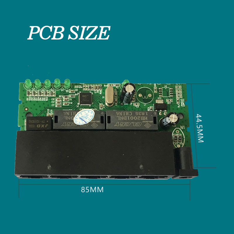 5Port Fast Ethernet Switch Module PCBA Hub Mini Size 88*44.5MM Transmission Rate 10/100Mbps Capacity 1G Cheep Price Free Express