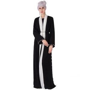 Muslim fashion abaya Women's Robe Beaded Cuff abaya dubai turkey muslim dress islam clothing open abaya cardigan kimono MSL836