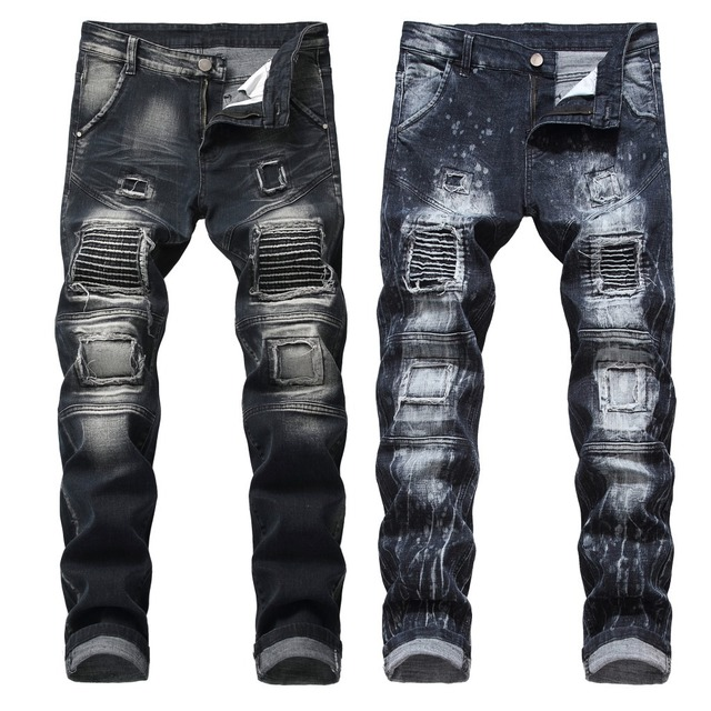 Plus Size Pant Men Street Jeans Holes Hip Hop Trousers Male Casual Elasticity Punk Rock Pants 2019 Party Mid Waist Cool Pant